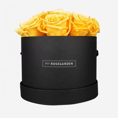 16 gelbe Infinity Rosen in schwarzer Rosenbox