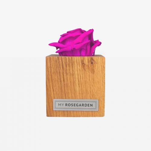 1 pinke Infinity Rose im Holzwürfel
