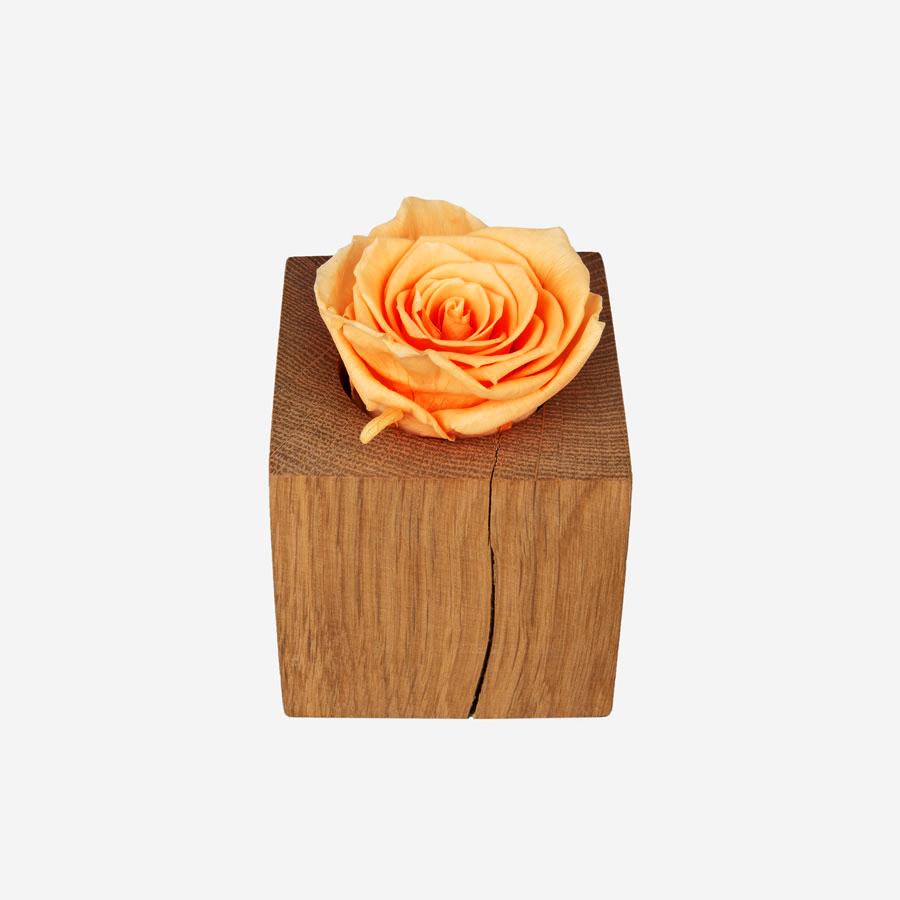 1 gelbe Infinity Rose in Holz