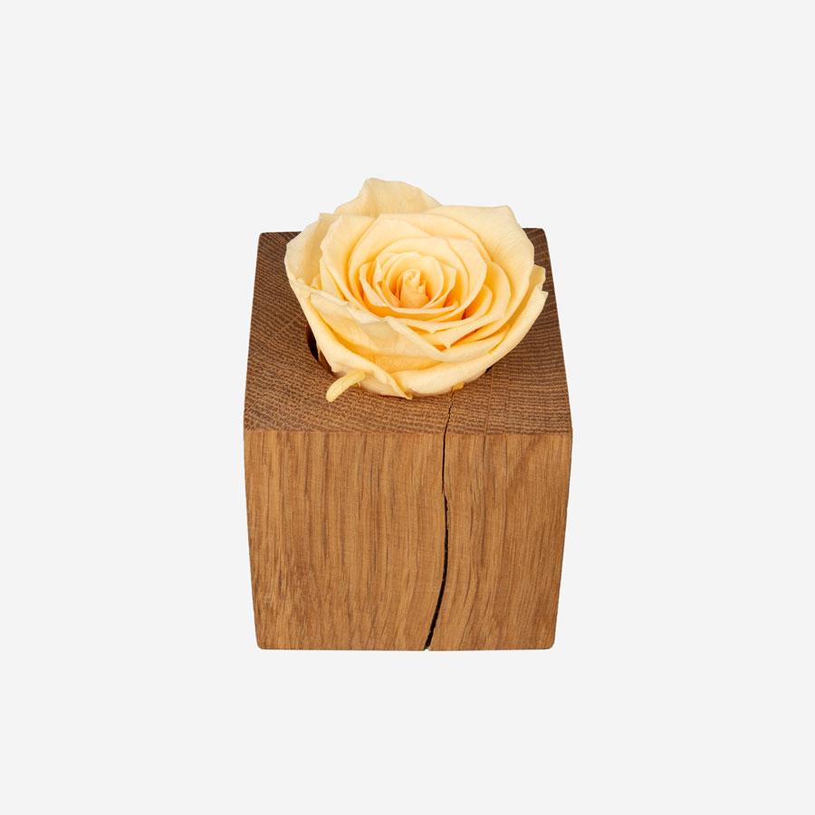 1 gelbe Infinity Rose im Holzwürfel
