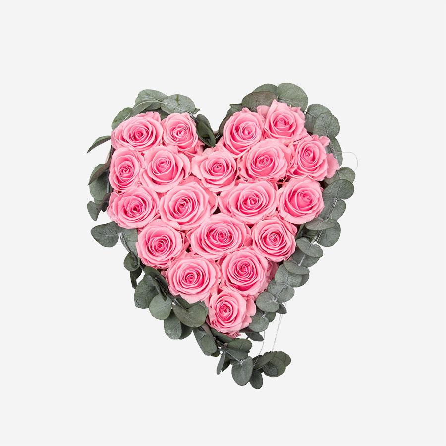 Rosenherz mit 19 rosa Infinity Rosen - My Rosegarden