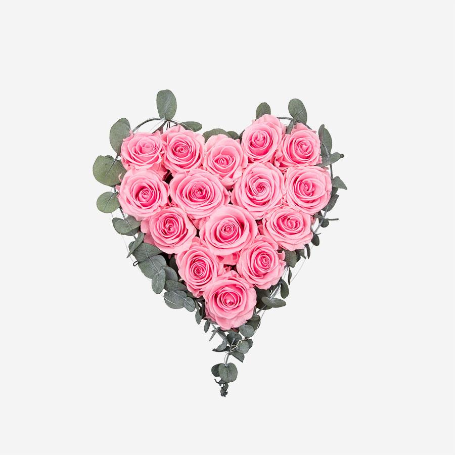 Rosenherz mit 14 pinken Infinity Rosen - My Rosegarden