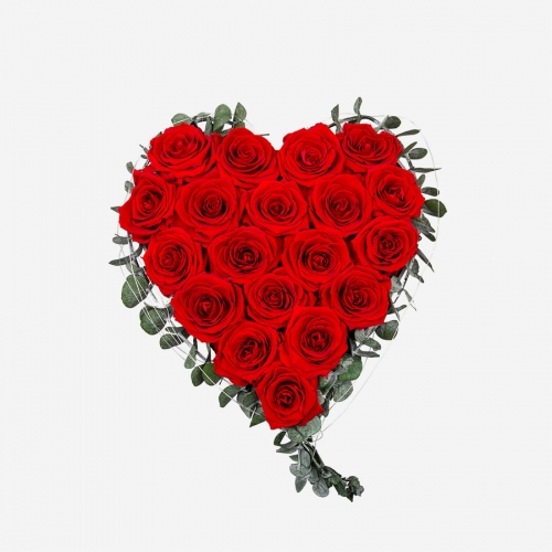 Rosenherz mit 19 roten Infinity Rosen von My Rosegarden