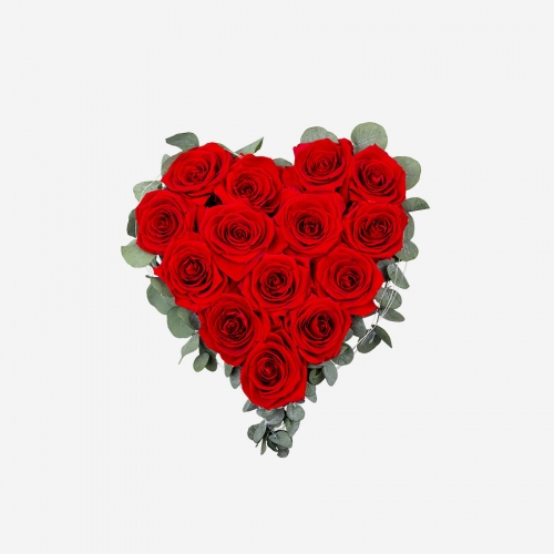 Rosenherz mit 14 roten Infinity Rosen - My Rosegarden
