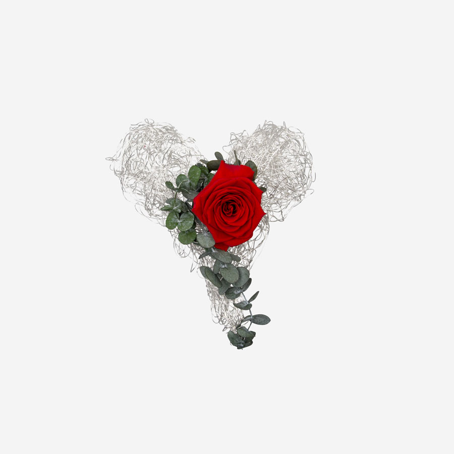 Drahtherz mit 1 roten Infinity Rose - My Rosegarden